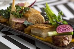 Pork assiette includes belly, cheek and fillet.