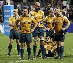 Australia's Wallabies react after their 19-14 loss to New Zealand's All Blacks during their Bledisloe Cup match in Hong Kong Saturday, Nov. 1, 2008. AP Photo/Kin Cheung