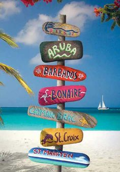 THE CARIBBEAN ISLANDS: ABC Islands - Aruba, Bonaire, Curacao. Spent a week in Bonaire though July Snorkle right off the beach, biked around the island, loved the flamigos and how they put cucumbers on their sandwiches. Vacation Trips, Dream Vacations, Vacation Spots, Caribbean Vacations, Vacation Deals, Vacation Resorts, Beach Resorts, I Love The Beach, Beach Signs