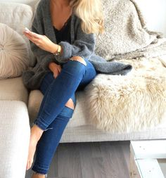 Lace cami, knit cardigan and ripped knee jeans