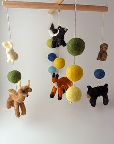 Woodland Baby Mobile 6 figures Extra Balls Custom by sheepcreeknc, $270.00