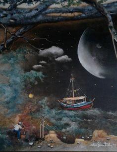 Çok yorgunum Beni bekleme kaptan  (Nazım Hikmet Ran ) Oilpaintingoncanvas  Painter.Selim Güventürk  40x50 cms.dim. Ankara
