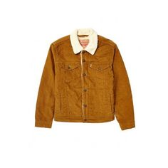 Levi's Sherpa Trucker Jacket in Cord (100 PAB) ❤ liked on Polyvore featuring outerwear, jackets, brown jacket, faux shearling jacket, levi jacket, levi's and sherpa jacket