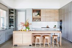 gray + wood cabinet mix