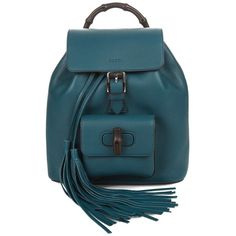 Gucci Bamboo mini leather backpack ($1,845) ❤ liked on Polyvore featuring bags, backpacks, bolsas, green, blue backpack, backpacks bags, leather bags, leather backpack and gucci backpack