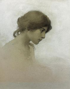 Lost in thought - Head Of A Girl by Franz Dvorak - Drawing - Pencil And Chalk