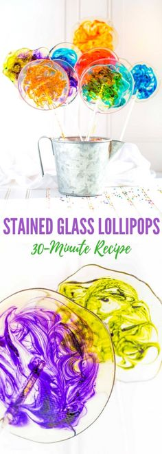 These stunning STAINED GLASS LOLLIPOPS are clear free-form lollipops with gorgeous colorful swirls. You are going to love this quick easy recipe! Only 5 simple ingredients are needed to make this childhood party favorite. Clear Lollipop Recipe, Lollipop Cake, Homemade Lollipops, Hard Candy Recipes, Swirl Lollipops, Fondant Cupcake Toppers, Cupcake Cakes, Pink Cupcakes, Heart Cupcakes