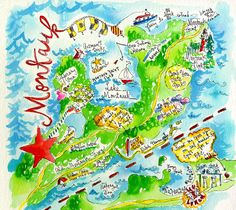 illustrated map of montauk