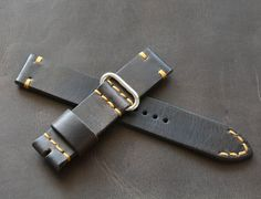 Please do not purchase before contact with me. 20x20mm dark brown leather watch strap handmade 100% handmade leather strap watch is made of premium quality leather. Stitched entirely by hand very high quality waxed thread. Edges waxed natural Carnabua wax. -Size on watch 20 mm -Size on buckle 20 mm -Long part 135 mm -Short part 80 mm. -Thickness about 3 mm -Color brown -Thread color cream Made in one piece. Will be perfect and reliable decoration for your wrist watch. I hope you enjoy…