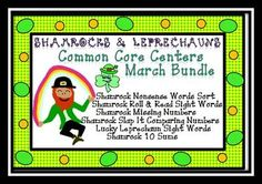 Shamrocks and Leprechauns Common Core Centers March Bundle from Can You Read It on TeachersNotebook.com -  (115 pages)  - These  6 St.Patrick's Day themed games are aligned to the kindergarten common core state standards. http://www.teachersnotebook.com/shop/CanYouReadIt
