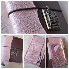 Custom order wide field notes (pocket) Midori style traveler's notebook in much mocha leather with pearlised rose gold embossed and plain leather details and pockets. Etsy: bypaperflower #bypaperflower #midori #fauxdori #Glendori #planner #journal