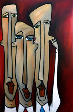 Listen Up - Original Abstract painting Modern pop folk faces Contemporary Art by Fidostudio, Acrylic painting by Thomas Fedro - Fidostudio |...