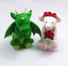 Custom Wedding Cake Topper, Dragon and Rat Couple, Chinese Zodiac Signs, Personalized Figurines, Made To Order. $60.00, via Etsy.
