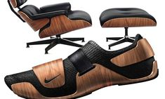 A Nike sneaker inspired by the Eames Lounge 670 armchair