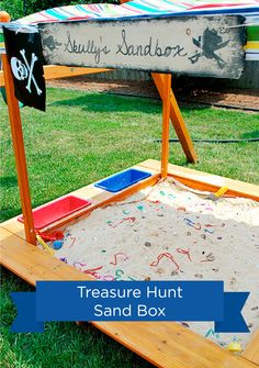 An outdoor sandbox is the perfect place for a treasure hunt for your pirate-themed kids' birthday party!