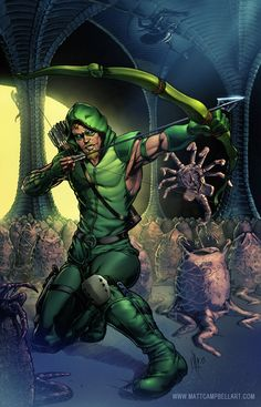 Green Arrow vs Aliens by Matt Campbell. Get this print for free by becoming a patreon supporter at www.patreon.com/ActionlineStudios