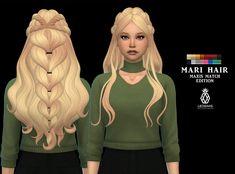 Mari hair mm by Leo-Sims Sims Four, The Sims 2, Sims 4 Mm Cc, Sims 4 Cas, Sims 1, Los Sims 4 Mods, Sims 4 Game Mods, Maxis, The Sims 4 Cabelos