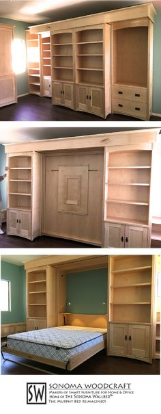 This set of craftsman home library shelves are hiding a smart secret: a murphy wall bed with a built in fold down table and LED lighting. by pauline Murphy Bed Ikea, Murphy Bed Plans, Murphy Bed Office, Full Size Murphy Bed, Fold Down Beds, Fold Down Table, Modern Murphy Beds, Library Shelves, Library Table