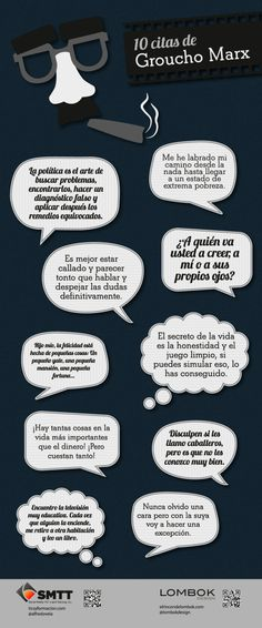 10 frases célebres de Groucho Marx Because spanish is so much more interesting when I'm un-translating groucho Bubble Quotes, Lol, Some Quotes, Typography Letters, Spanish Quotes, I Love Books, Cool Words, Quotations, Inspirational Quotes