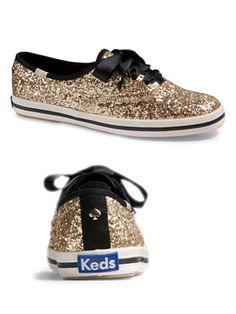 sparkle keds womens | Kate Spade for Keds, Vegan Gold Glitter Shoes, New York Champion ...