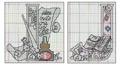 cross stitch alphabet very ME(LOOKING FOR N, O, T, U, & W)  6 of 11  from booklet:  Mary Engelbreit: Alphabets with Personality (Leisure Arts #4257)