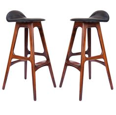 4 rosewood Danish barstools by Erik Buck | From a unique collection of antique and modern stools at https://www.1stdibs.com/furniture/seating/stools/