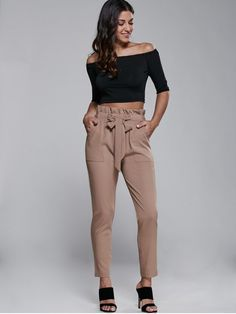 High Waisted Belted Narrow Feet Pants - KHAKI M Mobile
