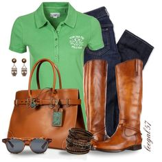 Preppy Polo Outfit :) I like this, minus the purse and glasses. Preppy Outfits, Preppy Style, Jean Outfits, Cute Outfits, My Style, Polo Outfit, Boating Outfit, Outfit Jeans, Fall Winter Outfits