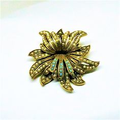 Floral Brooch - Vintage, Florenza Signed, White and Blue Beading, Pin by MyDellaWear on Etsy $42