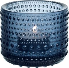 Iittala Kastehelmi Votive Holder, Rain, With its hobnail detailing and translucent blue hue, we love how this pressed glass votive holder brings a fun element of texture to its surroundings. Candles And Candleholders, Tea Light Candles, Tea Lights, Candlesticks, Glass Tea Light Holders, Glass Votive Holders, Glass Candle, Clear Glass, Porta Velas