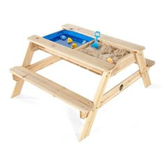 The Plum® Surfside Sand and Water Table does as the name suggests. It can be used as a picnic table in the garden for outdoor eating or for drawing and playi. Kids Wooden Picnic Table, Diy Picnic Table, Diy Table, Sand And Water Table, Water Tables, Sand Play, Water Play, Trampolines, Kids Outdoor Play Equipment