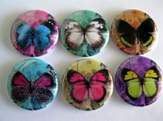 Butterfly button magnet set / 141 by Getagripmagnets on Etsy, $7.50