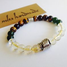 MEN'S NATURAL GEMSTONE CITRINE JADE TIGER'S EYE BEADED BRACELET GERMAN SILVER #MBAHandmade #Beaded