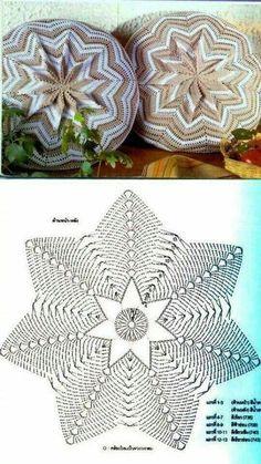 Crochet Pillow Patterns Part 4 - Beautiful Crochet Patterns and Knitting Patterns Crochet Cushion Cover, Crochet Pillow Pattern, Crochet Motifs, Crochet Cushions, Crochet Mandala, Crochet Diagram, Crochet Doilies, Crochet Flowers, Crochet Stitches