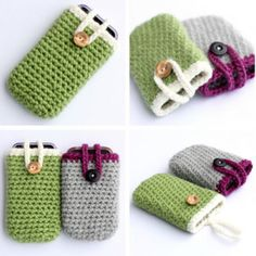 This easy Crocheted iPhone Cozy is a great last-minute gift idea for anyone on your list. Easy crochet patterns like this one can be made in less than a couple hours and don& require a ton of yarn. Crochet Case, Crochet Phone Cases, Crochet Purses, Love Crochet, Crochet Gifts, Knit Crochet, Easy Crochet Patterns, Knitting Patterns Free, Crochet Stitches