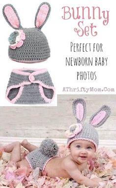 bunny outfit for newborn photos, Newborn photo ideas, baby photo props Crochet Baby Props, Newborn Crochet, Crochet Bunny, Crochet For Kids, Newborn Baby Photos, Newborn Pictures, Baby Pictures, Picture Ideas, Photo Ideas