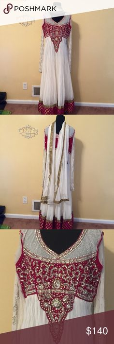 White pink crystal velvet net anarkali Indian 40 Indian pakistani anarkali gown dress outfit large 3pc top bottom and scarf includes free alterations  Ships from nj USA offers welcome closet clear out 3 or more items is 10% off plus free gift! Check out my other clothes as well !  40 size large Dresses