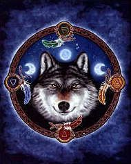"""Guide Cross Stitch Pattern - Eyes full of wisdom, this mystical wolf's head is framed by symbols for the four elements, while above him, triple moons hang in the starry sky. Pattern is based on artwork by Brigid Ashwood. The stitch count is 350w by 437h, and will measure 14""""w by 17 3/8""""h when stitched on 25 ct. fabric.This is a re-release of this customer favorite, with a new background!"""