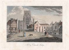 The Abbey Church, Shrewsbury, Shropshire. Published in coloured in at a later date Shrewsbury Shropshire, Pheasant, Family History, Wander, Beautiful Places, England, Gems, Cottage, Posters