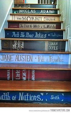Individual staircase, painted like much loved novels!