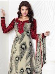Offwhite and black spotted anarkali churidar: KSL2301