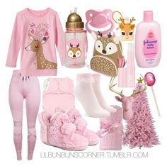 """REQUEST pink christmas"" by ittybittybunbun ❤ liked on Polyvore featuring WithChic, Johnson's Baby, Clinique, Muk Luks, Nordstrom and Forever 21"