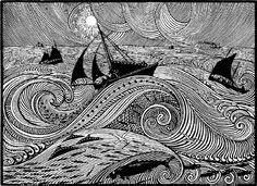 Rene Quillivic: En pleine mer (On the Open Sea), 1921 Woodcut from La Petite Histoire Bretonne,
