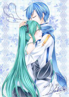 Miku y Kaito Anime Art, Chibi, Vocaloid, Vocaloid Kaito, Drawings, Kawaii, Miku, Art, Manga