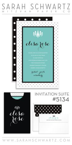 tiffany blue bat mitzvah invitation suite with black and white polka dots