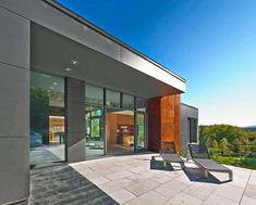 Modern Home Interior; Mesmerizing Ideas from Quebec : Cozy Open Patio In T House With