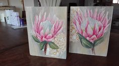 Proteas on Wooden blocks. I love upcycle- Painted these beautiful flowers on a piece of wood, can stand alone or hang. Pretty decoration for any room. Protea Art, Flower Decorations, Wall Decorations, King Art, Wood Canvas, Mason Jar Crafts, Crafty Projects, Painting On Wood, Painting Inspiration