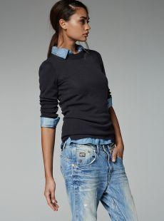 Shirt under jumper + boyfriend jeans