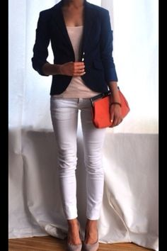 Neutral top, white pants, with navy blazer and bright bag