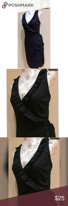 Trillin Black Ruffle Trim Wrap Dress 6 Like new. Zipper side. Wrap style. High quality material. 6 trulli Dresses
